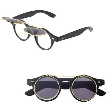 Classic Trend Round Eyeglass Steampunk Goth Glasses Goggles Round Flip Up Sunglasses Retro Vintage Fashionable Accessories