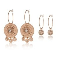 Cosmic Disc Hoops Set- Rose Gold