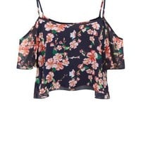 Parisian Navy Floral Print Cold Shoulder Top