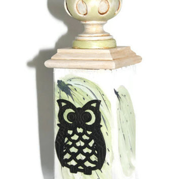 Fence Post Finial - Recycled - Upcycled - Cast Iron Owl - Hand Painted - Handmade - Cottage Decor