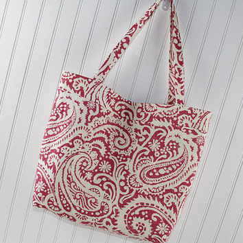 Pink Paisley Large Tote Bag, Farmers Market Bag, Reusable Grocery Bag, MK142