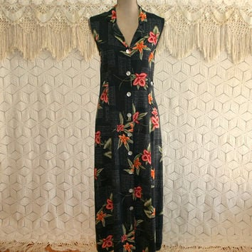 90s Sleeveless Black Floral Maxi Dress Tropical Summer Button Up Hawaiian Resort Rayon Size 12 Dress Large Vintage Clothing Womens Clothing