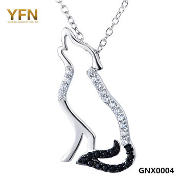 100% Real Pure 925 Sterling Silver Necklace Black White Cubic Zirconia Wolf Necklaces & Pendants Men and Women Jewelry GNX0004