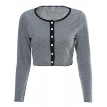 Sexy Scoop Neck Long Sleeve Single-Breasted Crop Top + Shorts Women's Twinset