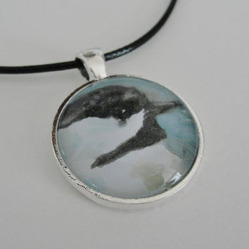 Bird Art Glass Silver Pendant Necklace by maryrichmonddesign