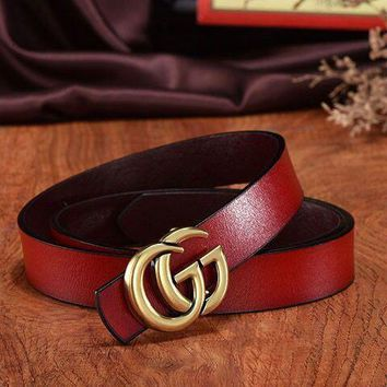 Gucci Unisex Interlocking G Red Leather With Silver/Black Buckle Belt