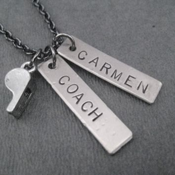 COACH PERSONALIZED Pewter and Nickel pendants priced with Gunmetal Chain - Unisex Coach Necklace
