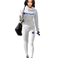 Champion Fashion New Letter Print Sports Leisure Keep Warm Long Sleeve Top And Pants Two Piece Suit White