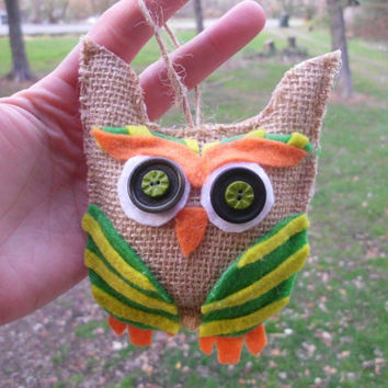 Burlap Owl Ornament, Rustic, Green, Orange, Natural, Christmas Decoration, Beige, Brown, Shabby Chic, Primitive, Country decor, owl lover