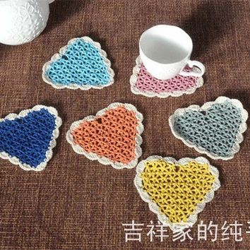 the best selling European 12x12cm cotton crochet lace doilies for wedding decor heart design coaster with colorful pad cup heart