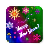 Colourful Happy New Happy Year Square Sticker