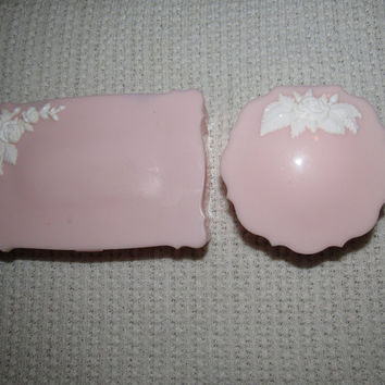 Vintage Vanity Set / Pink Compact Dresser Set / Two Piece Bureau Table Set / Vintage Bedroom Bath Schwartz Co. Plastic Vanity Set
