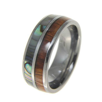 HECTOR Men's Tungsten Ring With Hawiian Koa Wood & Abalone Shell Inlay 8mm