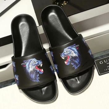 Gucci High Quality Newest Popular Men Casual Wolf Head Pattern Sandal Slipper Shoes Black