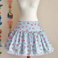 Blue Sax Cute Sweet Pastel Flower Floral Rose Skirt Lace Trim Lolita Otome Fairy Kei Casual