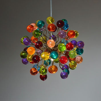 Pendant light. Rainbow color bubbles.