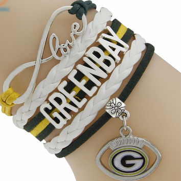 Football Green Bay Packers Bracelet Infinity Love