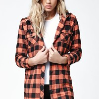 Volcom Growin Wild Flannel Tunic Shirt - Womens Shirts - Orange