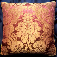Rubelli Ruzante Cardinal and Gold Silk Damask Fabric Throw Pillow Cushion Cover - Handmade in Italy