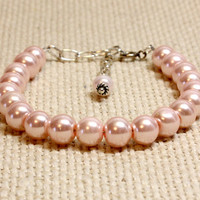 Large Baby Pink Dog Cat Collar.  Light Pink Glass Pearl for Small to Large Dog or Cat. Feminine Bead Collar for Special Occassions Pet Lover
