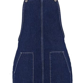 Contrast Stitch Denim Pinafore Dress | Boohoo