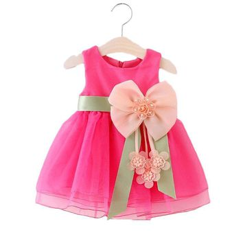 Baby Girls Big Bowknot Infant Party Dress For Toddler Girl First Birthday Baptism Clothes Double Formal Tutu Dresses