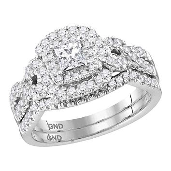 14kt White Gold Womens Princess Diamond Halo Twist Bridal Wedding Engagement Ring Band Set 1.00 Cttw (Certified)