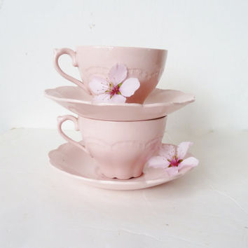 vintage pair of J&G Meakin tea cups and saucers . blossom pink . england . tea party . cottage style . shabby chic