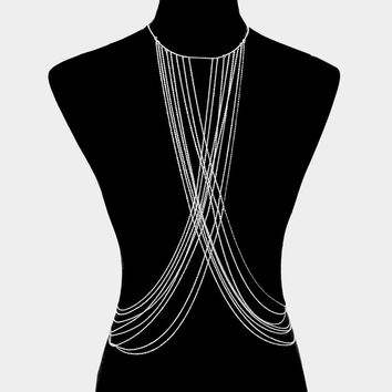 "18"" necklace crossed multi layered body chain swimsuit bra jewelry"