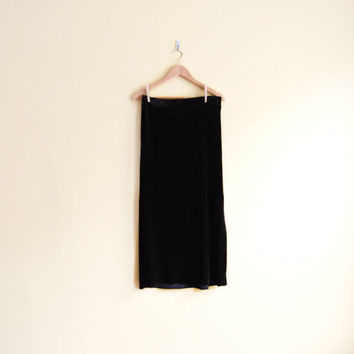 Vintage 90s Velvet Maxi Skirt - Black Velvet Skirt 90s Grunge Clothing Maxi Skirt Black Slit Skirt 90s Velvet Skirt Black Long Skirt Large