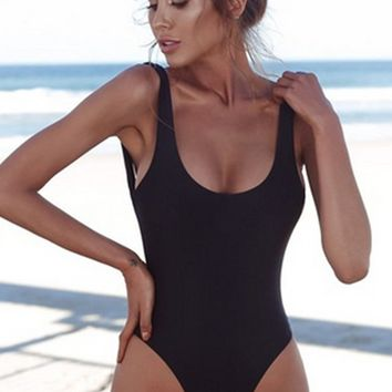 New Heights Sleeveless Scoop Neck Low Back High Cut One Piece Swimsuit - 6 Colors Available