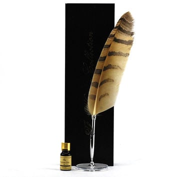 Feather Quill Pen, Luxury Owl Quill Pen And Ink Set With Stand
