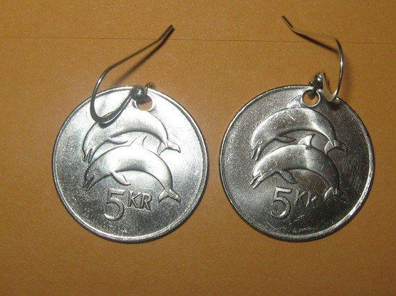 Authentic Iceland Double Dolphin Coin Earrings by mysticalserina