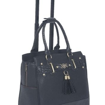 """THE BERKELEY"" Rolling Laptop Tote Bag Briefcase Carryall Bag"