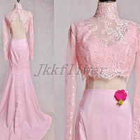 Long Pink Two Piece Prom Dresses High Neck Backless Bridesmaid Dresses,Full Sleeves Homecoming Dresses,Formal Party Dresses