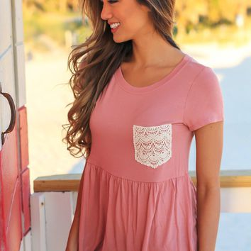 Mauve Babydoll Top with Crochet Pocket