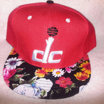 Washington DC Bullets Floral print custom retro logo snapback hat