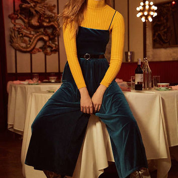 UO Emmabella Velvet Straight-Neck Jumpsuit   Urban Outfitters