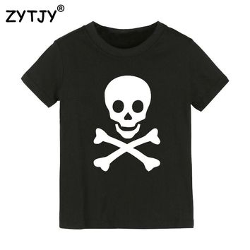 skull Print Kids tshirt Girl Clothes Funny Top Tees