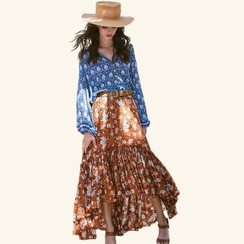 2018 new hot women skirts flower printing bohemian holiday skirts pleated sweet long skirts beach boho style printing skirt