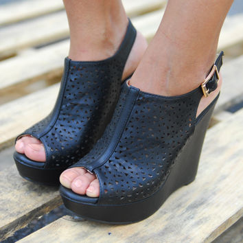 Black Open Toe Cage Wedge