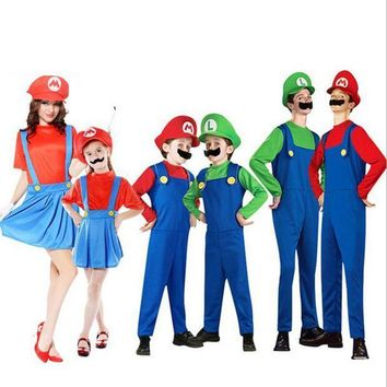 CREY6F Super Mario Luigi Brothers Cosplay Costume Fancy Dress Up Party Cute Costume For Adult Children Kids Free Shipping 10 Size