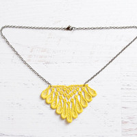 Lace Necklace - Emele in Yellow - Neon Fiber Jewelry - Citrus Diamond Summer Necklace