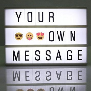 Cinema Light Box with 90 Letters,A6 size Free Combination Cinematic Light Box DIY Mini LED Letter Lamp for Home Decor, Photoshoots, Birthday Party