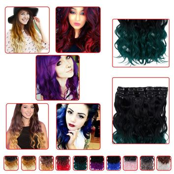 """20"""" Natural Wavy Clip in Hair Extensions Blue Purple Ombre Hairpieces for Woman"""