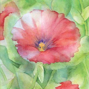 Red Hibiscus Watercolor