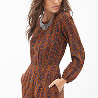 FOREVER 21 Abstract Printed Romper Rust/Blue Small