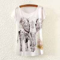 hot Summer t-shirts elephant O-neck  women's t-shirts shirt(one size) (Color: White) = 1956771076