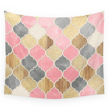 Society6 Silver Grey Soft Pink Wood Gold Moroccan Wall Tapestry