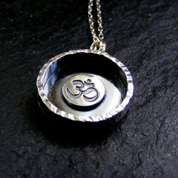 Silver Ohm Necklace Shadow box Sterling meditation pendant